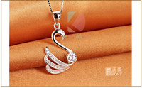 Wholesale lingdong Beautiful little swan pendant new Sterling Silver Chain Necklace Jewelry box gift for Valentine s Day