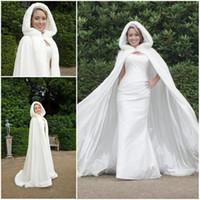 hooded cloak - 2016 Fall Winter White Wedding Cloak Cape Hooded with Fur Trim Long Bridal Jacket Custom Made Bridal Accessories