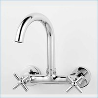 Wholesale dual handle wall mount kitchen faucet Double holder Hot and cold water brass mixer tap J14761