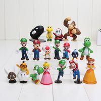 Wholesale High Quality PVC Super Mario Bros Luigi Action Figures youshi mario Gift OPP retail