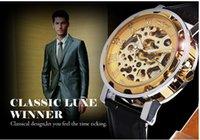 Precio de Gifts-El mejor regalo !! 2015 numerales griegos Dial Relojes Men Cool hueco retro reloj mecánico de cuero de la vendimia Esqueleto Rueda de engranaje del reloj nave libre de Totem
