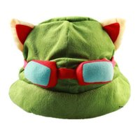 Wholesale hot sale the Swift Scout Teemo hat Hero alliance around cospaly hat LOL Game Green Teemo hats league of legends COS cap