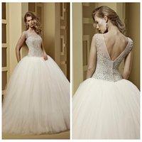 bead shapes chart - Sheer Beaded Crystal Ball Gown Wedding Dresses Custom Online Tulle Skirt Bridal Gowns V Shape Back Formal Dazzling Bridal Dress