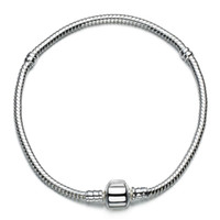 beaded chain bracelet - Sterling Silver Charm Bracelets Screw Clasp Bracelet Snake Chain Bangle Fit European Charms Silver Beads DIY Jewelry
