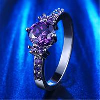 amethyst diamond engagement rings - Fashion Purple Silver Jewelry diamond rings Amethyst czfor women midi engagement wedding female rings cute jewelry bijoux L200