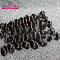 Wholesale Loose Deep Bundles - 4pcs lot AAAAAAA+ Brazilian Loose Deep Wave Virgin Hair Extensions Loose Curly Hair Weave Weft Wavy Hair Bundles Natural Black Dyeable