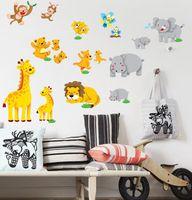 bear country - 100pcs DM57 Cartoon cute animal monkey nursery decor art Bear lion Kids room decor pvc home decal wall stickers bedroom decor