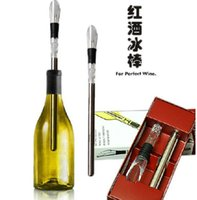 Wholesale Wine chillers stick Stainless Steel Wine Bottle Coolers Chill Wine Chill Stick Rod with Wine Pourer sets DHL Free