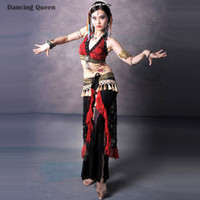 Cheap Belly Dancing Clothes Red White Women Bellydance Lady Bollywood Dance Costumes Embroidery Tribal Indian Dresses Danca Do Ventre