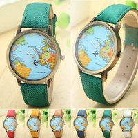 airplanes world - Women Men Unisex clock Fashion Vine mini Casual World Map watches By Airplane Dial Analog Quartz Wrist Watch for Children and adults