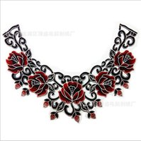 Wholesale 1piece Embroidered Neckline Collar Lace Motif Patches Flower Applique Venise Collar Decorated Sew on Cloth
