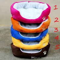 Wholesale Dog Paw Print Pet Bed Dog Bed Round Solid Pet Bed