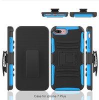 Caso híbrido de la contraportada del Kickstand de la caja del clip de la armadura para el iPhone 6 6S 7 más borde de la galaxia s6 s7 LG LS775 ZTE Zmax favorable bolso de Fetce 4 OPP de Alcatel