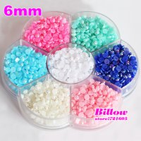 Wholesale mm Mixed Color With Box Packing Imitation Flatback Half Round Pearls For DIY Fashion Decoration B1791