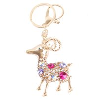 animals goats - New Fashion Fat Goat Sheep Pendant Crystal Purse HandBag Key Ring Keychain Wedding Party Creative Gifts