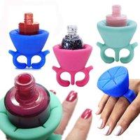 Wholesale Soft Flexible Slicion Wearable Nail Polish Bottle Holder Display Finger new
