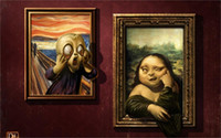 art gallery lighting design - 24X36 INCH ART SILK POSTER Painting Art Antonio De Luca paintings Mona Lisa gallery faces humor Home Decoration Canvas