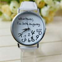 auto resin - Mance Whatever I am Late Anyway Letter Pattern Leather Men Women Watches Fresh New Style Woman Wristwatch Lady Watch Hot Sale