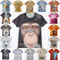 Wholesale Hot Sales D Animals Print T Shirts For Men Big Face Tees Short Sleeve Slim Fit Polo Tiger Cat Dog Wolf Polyester Factory Free DHL