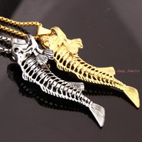 Wholesale Popular Color Selection Stainless Steel Big Fish Bone Hollow Biker Pendant Cool Men Boy Free Necklace Gift Jewelry