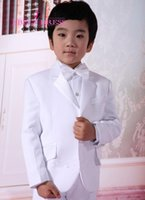 Wholesale Hot Sale White Satin Boys Formal Wears Notched Lapel Two Buttons Bride Wedding Ring Bearer Kids Tuxedos Little Mens Suits Jacket Pants Bow