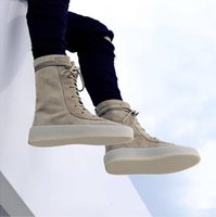 alligator leather boots - Kanye West Season Suede Crepe Army Boots Mens Khaki Ankle Boots Size