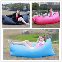 Wholesale Inflatable Outdoor Pads Air Sleep Sofa Couch Portable Furniture Sleeping bag Hangout Lounger Inflate Air Bed Imitate Oxford Cloth Color