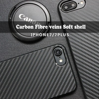 Wholesale Carbon fiber texture phone shell iphone7 plus Protective cover Anti fall Black TPU soft shell universal case