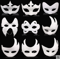 animal masks children - Halloween masques mask white paper pulp mask creative diy hand painted mask people and animal type mask for sale