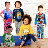 Wholesale New styles Kids Clothing Baby Pajamas Cotton Minion Frozen Batman patrol Clothes Suit Boys Girls shirt Pants Children Pjs Sets