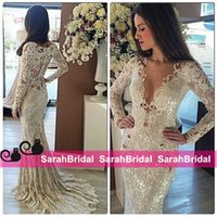 beautiful deep - 2015 Most Beautiful Lace Sequins Deep Illusion V Crew Neck Mermaid Wedding Dresses Sexy Sequined Bridal Gowns steven khalil Vestidos