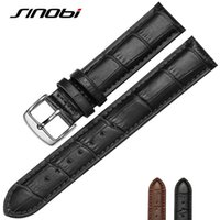 Wholesale SINOBI Black MM MM Durable One Sweatband Watch Men cowhide Leather Strap Watchband Steel Buckle Wrist Women Watches Bands