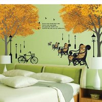 bench plane - Pvc Wall Stickers Tree Bench Cycle Design Wall Sticker For Living Room Decoration Removable Sticker DIY Decals Home Decorate