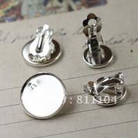 ¡Envio GRATIS! 10mm cobre chapada en plata en blanco Clip Círculo bandeja de base del perno prisionero del 4 de bricolaje camafeo de la resina de los taxis en la configuración de la joyería al por mayor