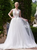 accord make - The new marriage gauze Open Back run Neck Appliques A Line Court Train Wedding Dress we can make according to the size
