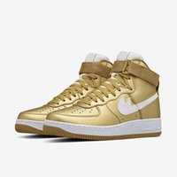 air mens shoes - 2016 New Air HIGH METALLIC GOLD Men Sports Skateboarding Shoes AF1 Mens Sports Sneakers Eur