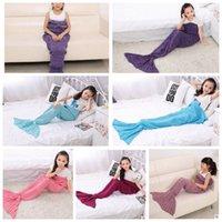 Wholesale 140 cm Kids Mermaid Blankets mermaid sleeping bag Crocheted Blankets Sofa Blankets Soft Nap Blanket Costume Cocoon KKA692