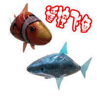 Wholesale New Finding Nemo Flying Fish Remote Control Toys Air Swimmer Inflatable Plaything Clownfish Shark Toy Christmas Gifts Air Elves C957