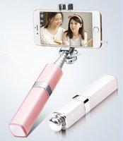 Wholesale 2016 Fashion Mini Lipstick Wired Selfie Stick Degree Rotation Universal Handheld Portable Extendable Folding Selfie Monopod for phone