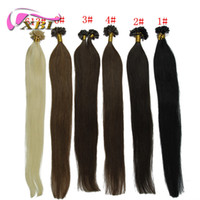 Wholesale 20 quot G Natural keratin Capsule prebonded U Nail Tip Hair Extension Flat Tip Hair Extensions Color Available s bag