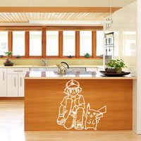 Animals baby sketch - 2016 Poke wall sticker black white colors Ash Ketchum and pikachu cartoon sickers sketch stickers baby Wall Decor cm