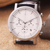 accurate stainless steel - 2016 luxury brands high quality Multi function timing mens wristwatch accurate luminescent pointer Leather strap business quartz watches