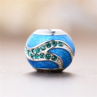 Wholesale Blue Enamel Sterling Silver Beads With Green Crystals DIY Jewelry Charms Beads For Pandora Bracelets Wedding Women Fine Jewelry D170