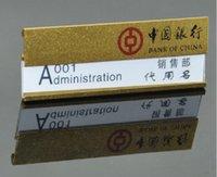 aluminium name badges - 50 Custom logo slot aluminium alloy student worker employee ID name badge ID card holder name card chest badge pin brooch