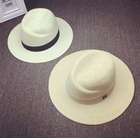 Wholesale 2016 Masion Michel Large Wide Brim Straw Sun Hats For Women Panama Fedora Hats M Letter Summer Straw Floppy Beach Hat AG01