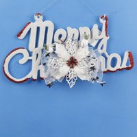 big decoration letters - Merry Christmas letters with big flower sign The Christmas tree ornaments Family mall hotel festival decoration supplies