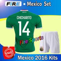 Cheap 2016 High Quality Mexico kits soccer jerseys men set green 14# CHICHARITO Jerseys 2017 mens 11 AQUINO 10# G.DOS SANTOS cheap football shirts
