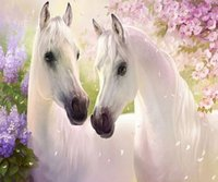 antique horse paintings - 3D DIY Diamond Embroidery White Horse And Flower Painting Modern Handmade Cross Stitch Home Decoration x50cm HWB