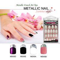 Wholesale Metallic French False Nails Sets boxes Fashion Adhesive False Nail Art Tips Luxury Straight Stick Fake Nail Tips Full Cover