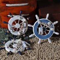 Wholesale 9 inch Beach Wooden Boat Ship Rudder Fishing Net Shells Home Decor Blue White Wall Nautical Decorations